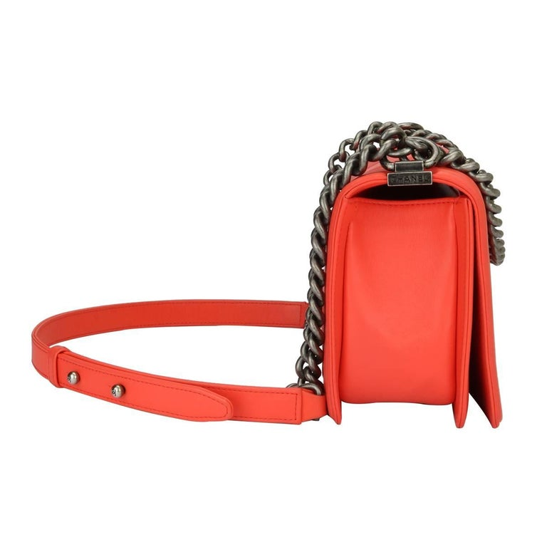 Chanel Old Medium Peachy Red Chevron LeBoy Calfskin with Ruthenium Hardware 2016 For Sale 6