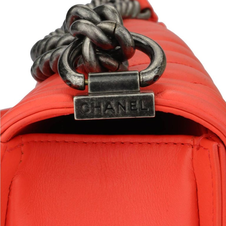 Chanel Old Medium Peachy Red Chevron LeBoy Calfskin with Ruthenium Hardware 2016 For Sale 7