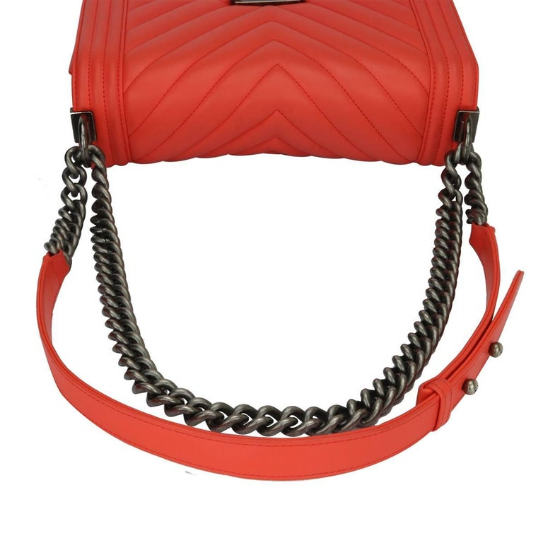 Chanel Old Medium Peachy Red Chevron LeBoy Calfskin with Ruthenium Hardware 2016 For Sale 8