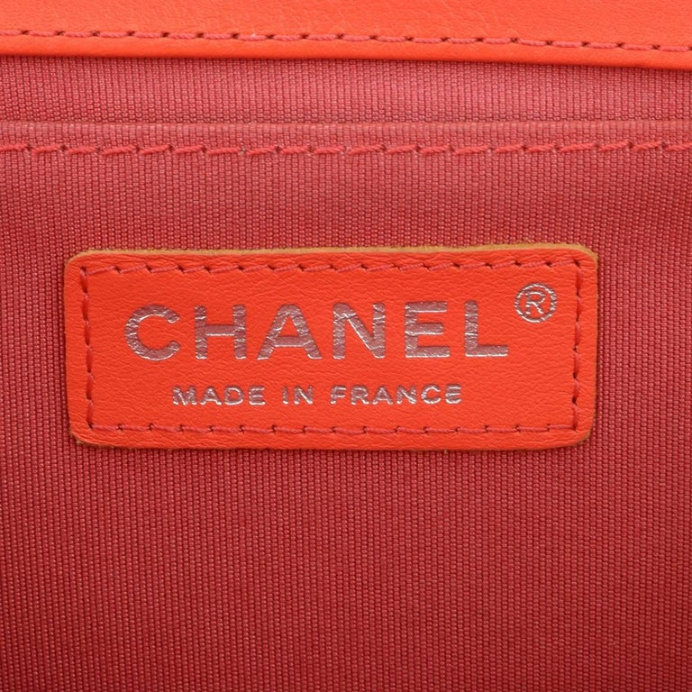 Chanel Old Medium Peachy Red Chevron LeBoy Calfskin with Ruthenium Hardware 2016 For Sale 12
