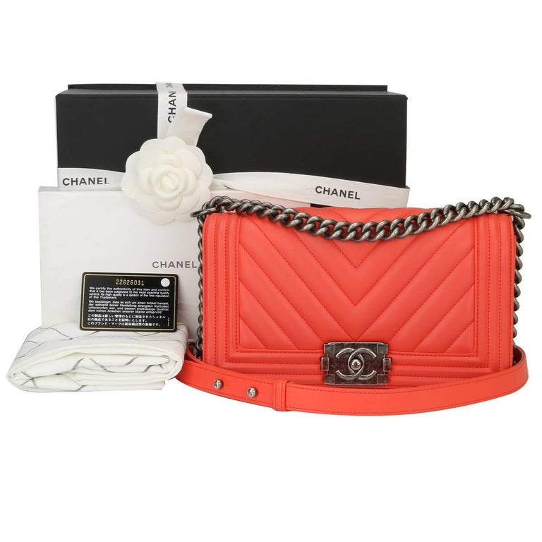 Chanel Old Medium Peachy Red Chevron LeBoy Calfskin with Ruthenium Hardware 2016 For Sale 15
