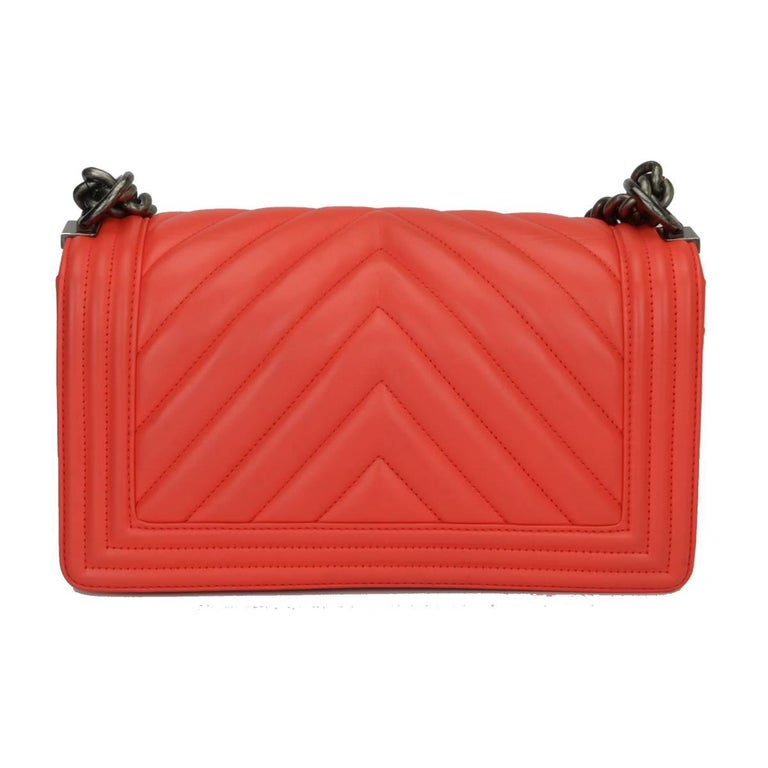 Chanel Old Medium Peachy Red Chevron LeBoy Calfskin with Ruthenium Hardware 2016 In Excellent Condition For Sale In Huddersfield, GB