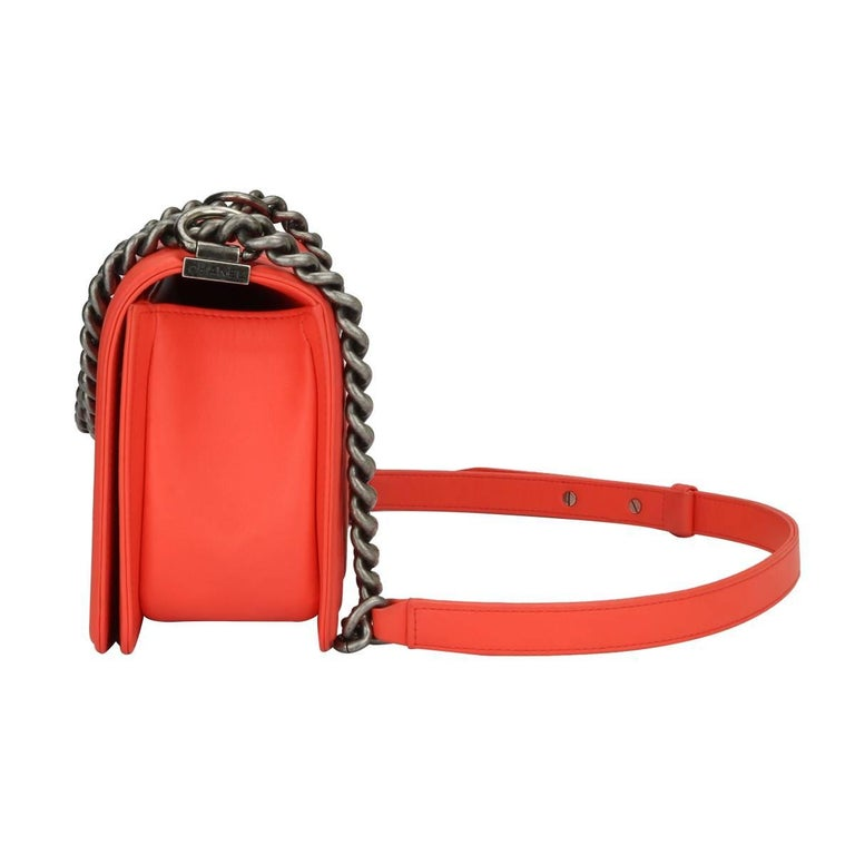 Chanel Old Medium Peachy Red Chevron LeBoy Calfskin with Ruthenium Hardware 2016 For Sale 5