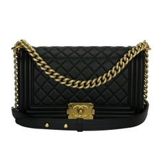 CHANEL Old Medium Quilted Boy Bag Black Calfskin with Gold Hardware 2015