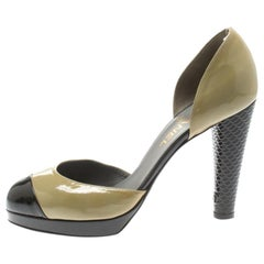 Chanel Olive Green And Black Patent Leather Cap Toe D'orsay Pumps Size 40
