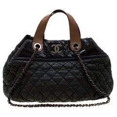Chanel Olive Green/Black Quilted Leather Hobo