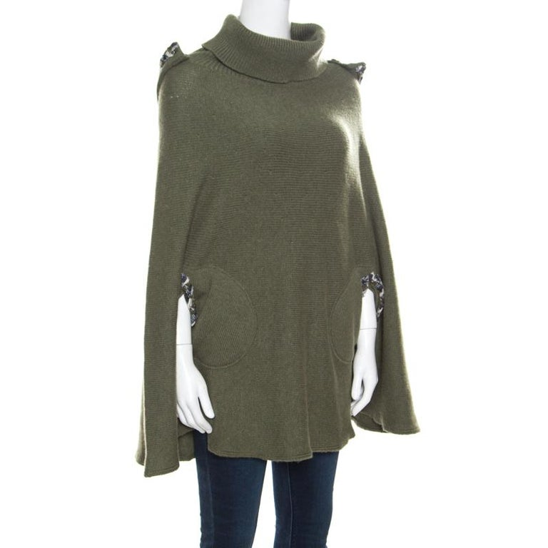 Gray Chanel Olive Green Cashmere Contrast Trim Detail Hooded Poncho M
