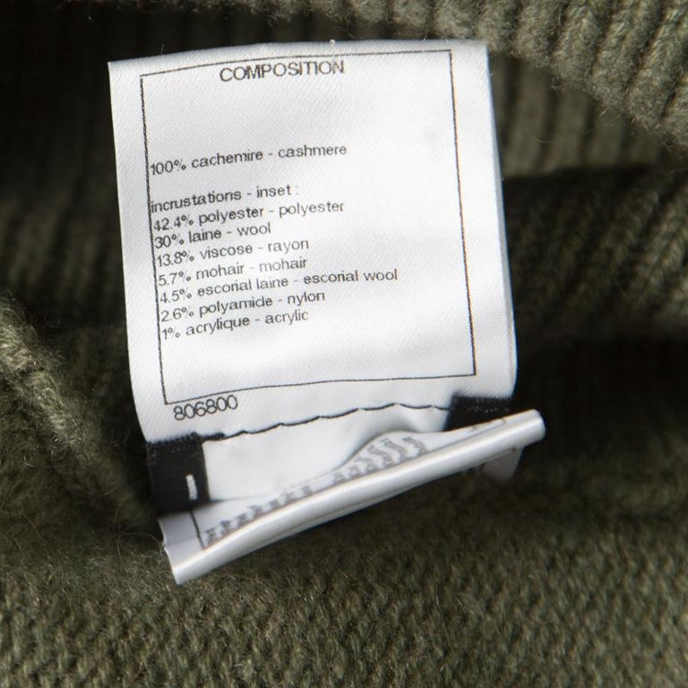 Women's Chanel Olive Green Cashmere Contrast Trim Detail Hooded Poncho M