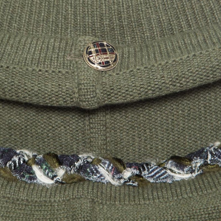 Chanel Olive Green Cashmere Contrast Trim Detail Hooded Poncho M 1