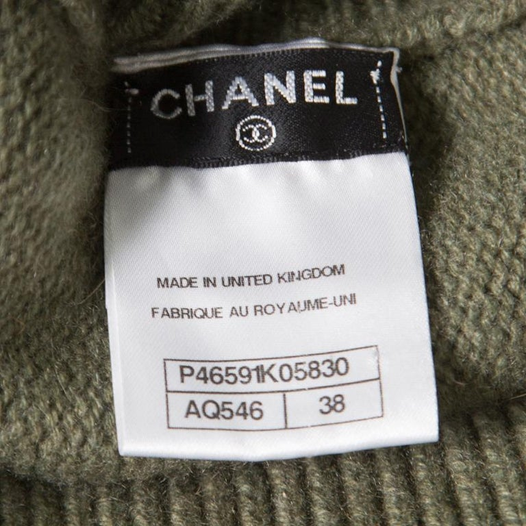 Chanel Olive Green Cashmere Contrast Trim Detail Hooded Poncho M 2