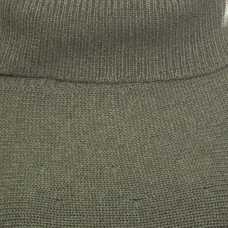Chanel Olive Green Cashmere Contrast Trim Detail Hooded Poncho M 3