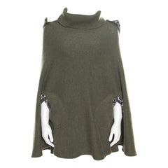 Chanel Olive Green Cashmere Contrast Trim Detail Hooded Poncho M