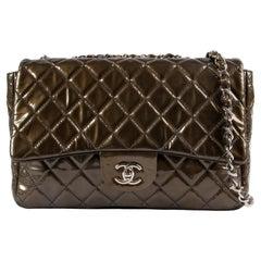 Chanel Olive Green Jumbo Classic Flap Patent Leather Handbag