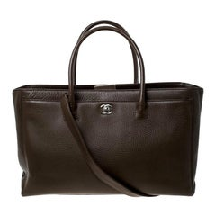 Chanel Olive Green Leather Cerf Executive Tote