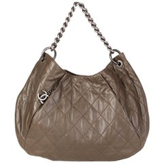 Chanel olive green leather COCO PLEATS LARGE HOBO Shoulder Bag