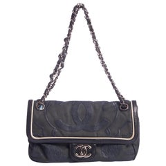 Chanel Olive Green & Silicon Logo Flap