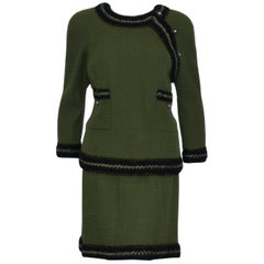 Chanel Olive Green Skirt Suit w/ Navy Blue Trim