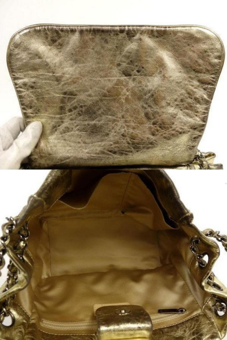 e51848c09925 Brown Chanel Ombre Logo Chain Flap 230549 Gold Leather Shoulder Bag For Sale