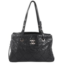 Chanel On The Road Shopping Tote Quilted Leather Medium