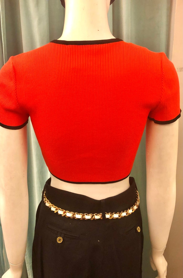 Chanel Orange 1995 Cropped Cardigan Top In Excellent Condition For Sale In Sheung Wan, HK
