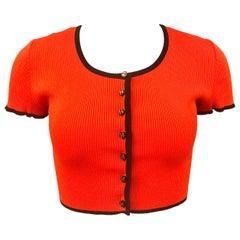 Chanel Orange 1995 Cropped Cardigan Top