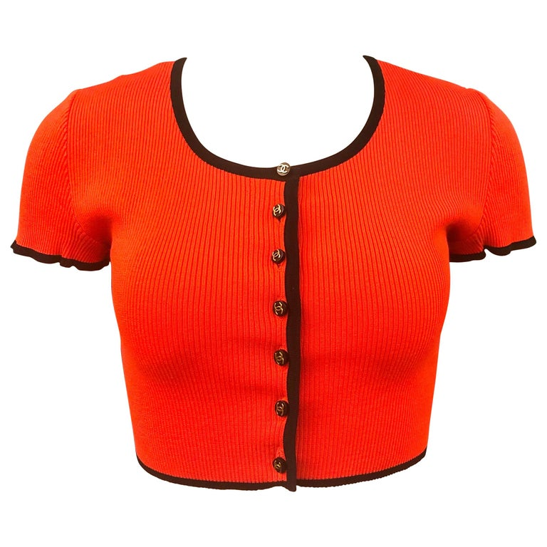 Chanel Orange 1995 Cropped Cardigan Top For Sale