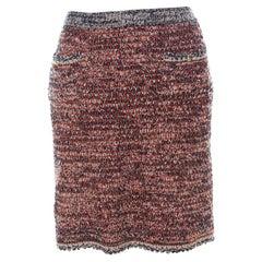Chanel Orange And Blue Tweed Short Skirt M