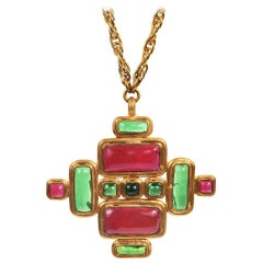 Chanel Orange and Green Gripoix Medallion Cross Necklace