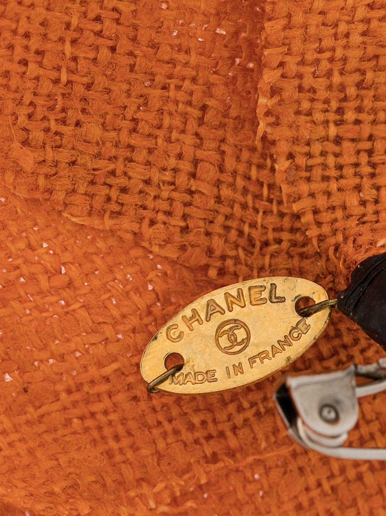 Chanel Orange Camelia Brooch In Excellent Condition For Sale In London, GB