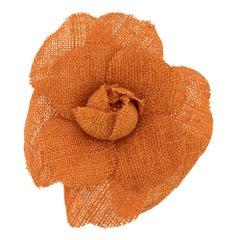 Chanel Orange Camelia Brooch