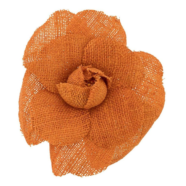 Chanel Orange Camelia Brooch For Sale
