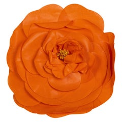 Chanel Orange Camellia Flower Brooch Pin