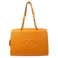Chanel Orange Caviar Leather XLarge Overnight Weekender Travel Tote Shoulder Bag