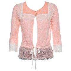 Chanel Orange Lace Waist Tie Detail Button Front Jacket M