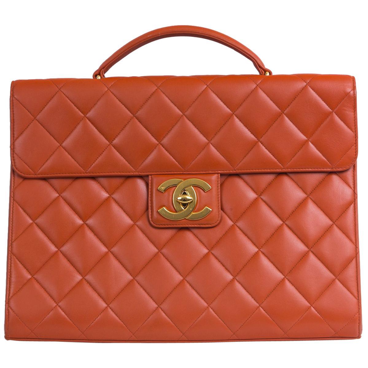 Chanel Orange Lambskin Briefcase