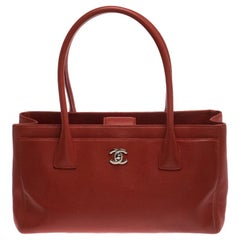 Chanel Orange Leather Small Cerf Executive Tote