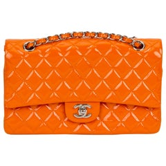 Chanel Orange Patent Leather Double Flap