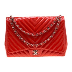 Chanel Orange Patent Leather Maxi Classic Single Flap Bag