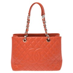 Chanel Orange Quilted Caviar Leather Grand Shopping Tote