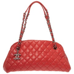 Chanel Orange Quilted Caviar Leather Just Mademoiselle Bowler Bag