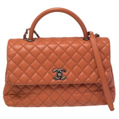 Chanel Orange Quilted Caviar Leather Medium Quilted Coco Top Handle Bag
