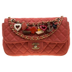 Chanel Orange Quilted Lambskin Leather Cruise Charm Flap Bag