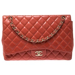 Chanel Orange Quilted Leather Maxi Classic Single Flap Bag