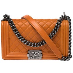 Chanel Orange Quilted Leather Medium Boy Flap Bag