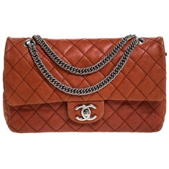 Chanel Orange Quilted Leather Medium Classic Double Flap Bag