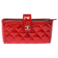Chanel Orange Quilted Patent Leather iPhone Pouch