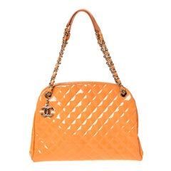 Chanel Orange Quilted Patent Leather Medium Just Mademoiselle Bowler Bag