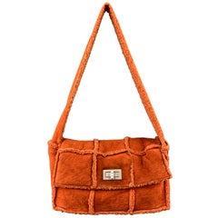 CHANEL Orange Shearling Quilted Turn Lock Handbag