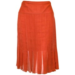 Chanel Orange Silk Crepe Sheer Pleated Skirt From The 2004 Spring Collection