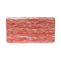 Chanel Orange Striped Patent Leather CC Wallet